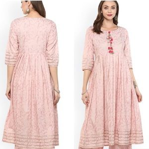 Idalia Pink Printed Pom Pom Oversized Midi Dress S